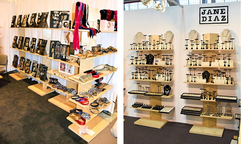several options for display shelving for trade shows