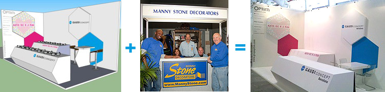 Manny Stone Decorators builds a booth for Optim of Barcelona
