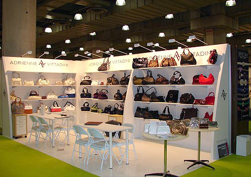 Adrienne VIttadini Handbag trade show display by Manny Stone Decorators