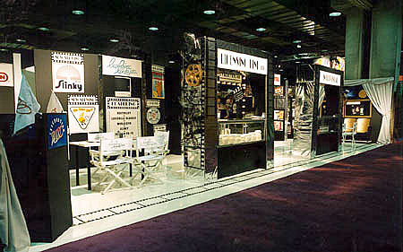 masonite floor, sales counter in exhibit booth by Manny Stone Decorators