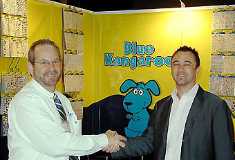 Blue Kangaroo trade show booth by Manny Stone Decorators
