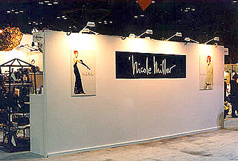 Nicole Miller booth with hardwall by Manny Stone Decorators