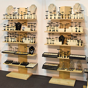 freestanding display shelving units from Manny Stone Decorators